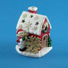"""Подсвечник """"Пряничный домик со снеговиком"""""""