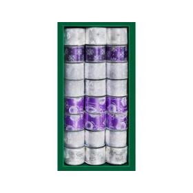 Лента для декора фиолетово-бело-серебряная
