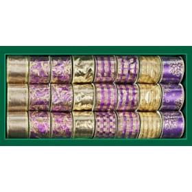 Лента для декора фиолетово-золотая