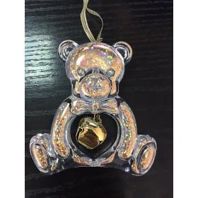 Медвежонок с колокольчиком прозрачно-золотой