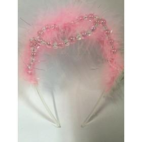 Корона с бусинами и розовым пухом