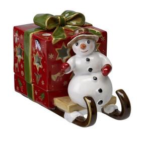 Снеговик с подарком на санях, подсвечник Villeroy&Boch
