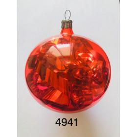 Шар красный 8.5см с мишурой внутри