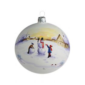 Шар 100мм Зимняя акварель Снеговик